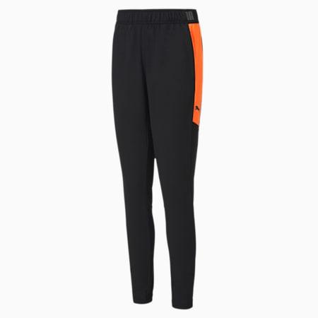 ftblNXT Knitted Slim Fit Kid's Pants, Puma Black-Shocking Orange, small-IND