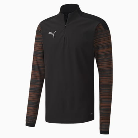 ftblNXT Quarter Zip Men's Slim Fit Top, Puma Black-Shocking Orange, small-IND