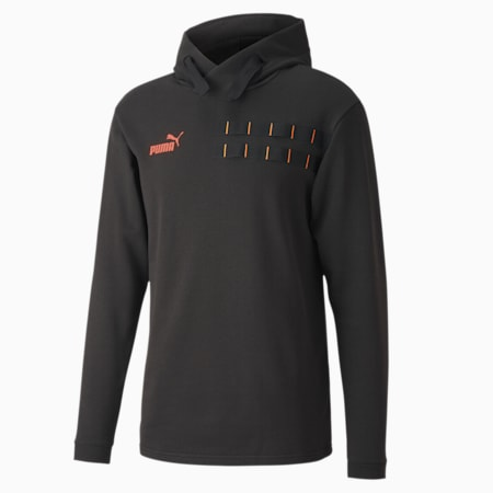 ftblNXT Casuals Men's Hoodie, Puma Black-Fizzy Orange, small