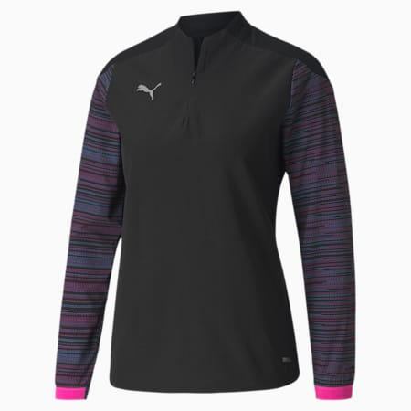 Damska koszulka piłkarska ftblNXT z zamkiem 1/4, Puma Black-Blue Glimmer-Lumi, small