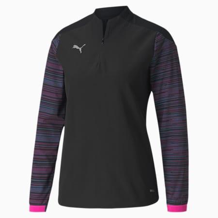 ftblNXT Quarter-Zip Damen Fußball-Shirt, Puma Black-Blue Glimmer-Lumi, small