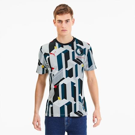 Camiseta de fútbol de manga corta Alemania para hombre, Puma Black-Gray Violet, small