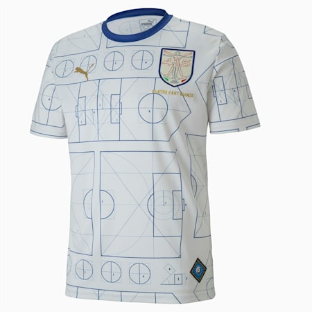 Camiseta de fútbol de manga corta Italia para hombre, Birch-Limoges, small