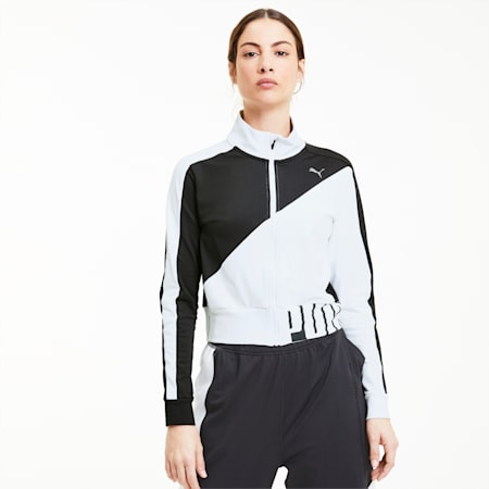 Train Stretch Knit Women's Track Jacket, Puma Black-Puma White, small