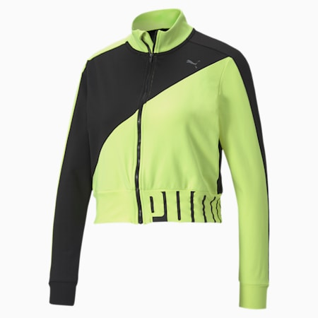 Stretch Knit Women's Training dryCELL Track Jacket, Puma Black-Fizzy Yellow, small-IND