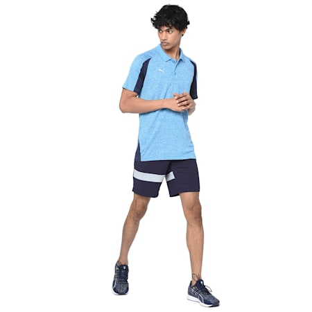 Training Men's Polo, Bleu Azur-Heather-Peacoat, small-IND