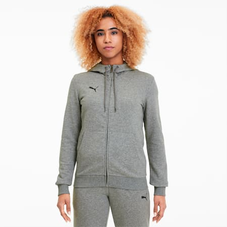 teamGOAL 23 Casuals Hooded Girl's Football Track Jacket, Medium Gray Heather, small-IND