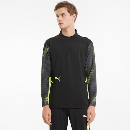 Camiseta de fútbol con cierre de media cremallera individualCUP para hombre, Puma Black-Yellow Alert, small