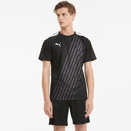 Camiseta de fútbol con estampado gráfico teamLIGA para hombre, Puma Black-Puma White, small