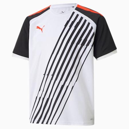 teamLIGA Graphic Kid's Football Jersey, White-Red Blast-Puma Black, small-IND