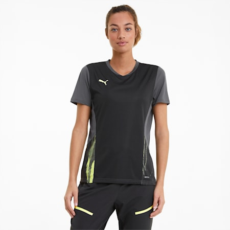 individualCUP Women's Football Jersey, Black-Asphalt-FLUO YELLOW, small