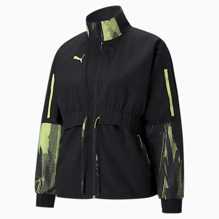 individualCUP Women's Football Jacket, Asphalt- Black- FLUO YELLOW, small-GBR