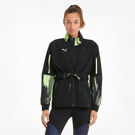 individualCUP Women's Football Jacket, Asphalt- Black- FLUO YELLOW, small