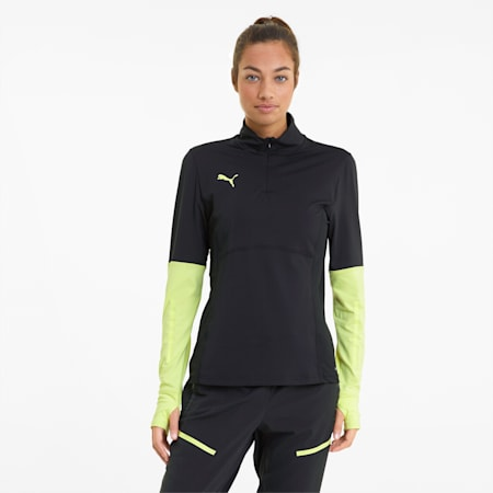 Haut de football à fermeture zippée courte individualCUP femme, Black-Asphalt-FLUO YELLOW, small