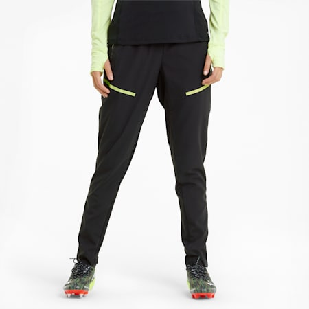 Pantaloni da calcio per l'allenamento individualCUP donna, Black-Asphalt-FLUO YELLOW, small
