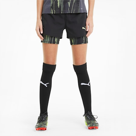 Shorts da calcio individualCUP donna, Black-Asphalt-FLUO YELLOW, small