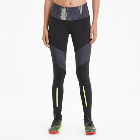 individualCUP Women's Football Leggings, Black-Asphalt-FLUO YELLOW, small