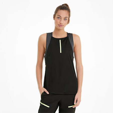 individualCUP Damen Fußball-Tank-Top, Black-Asphalt-FLUO YELLOW, small