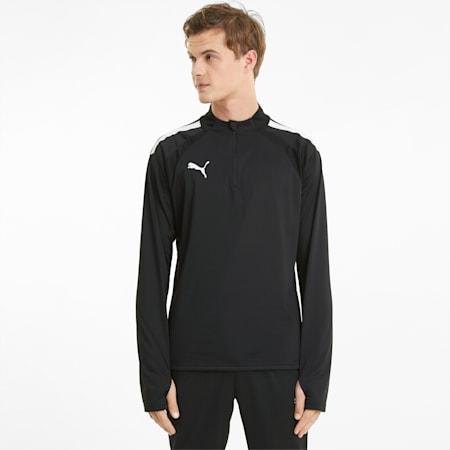 Męska koszulka piłkarska z zamkiem 1/4 teamLIGA, Puma Black-Puma White, small