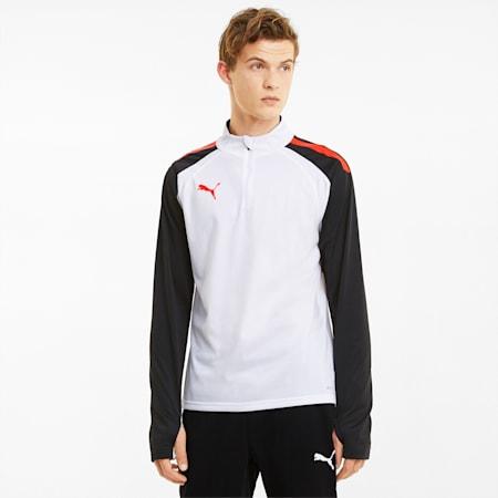 Męska koszulka piłkarska z zamkiem 1/4 teamLIGA, White-Red Blast-Puma Black, small