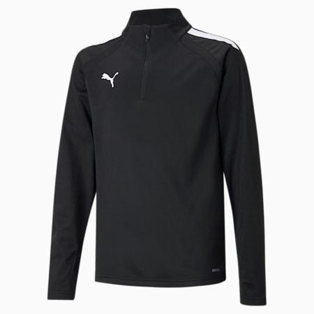 teamLIGA Quarter-Zip Youth Football Top, Puma Black-Puma White, small-GBR