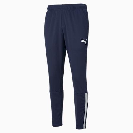 teamLIGA Training Men's Football Pants, Peacoat-Puma White, small