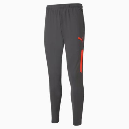 teamLIGA Pro Training Men's Football Pants, Asphalt-Red Blast, small