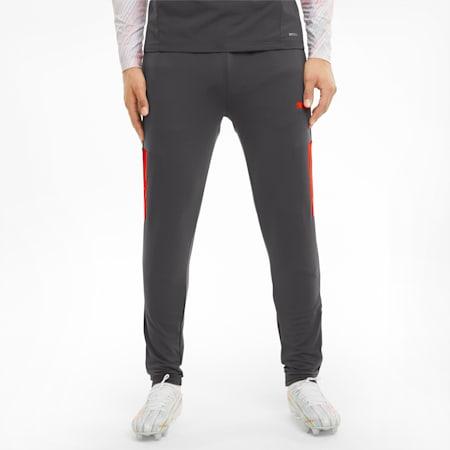 Męskie treningowe spodnie piłkarskie teamLIGA Pro, Asphalt-Red Blast, small