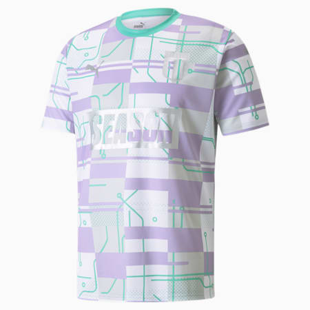 Camiseta de fútbol PUMA x SEASON Zine, Puma White-Biscay Green, small