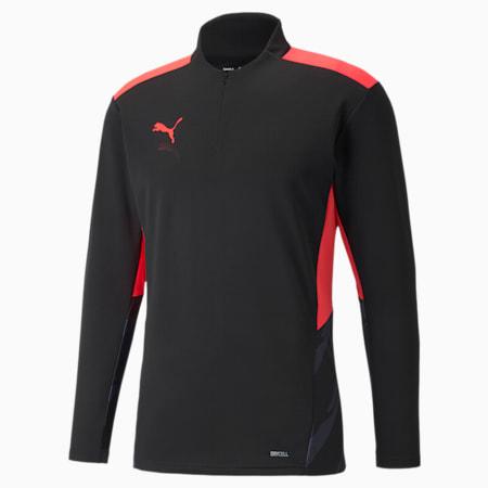 Camiseta de entrenamiento de fútbol con cierre medio individualCUP para hombre, Puma Black-Sunblaze, pequeño
