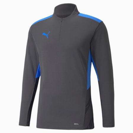 Camiseta de entrenamiento de fútbol con cierre medio individualCUP para hombre, Asphalt-Bluemazing, pequeño