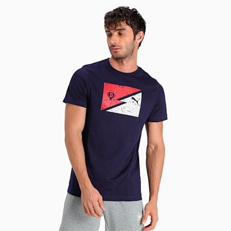 PUMA x Dream11 Cotton Roundneck Men's Bolt  Slim-fit T-shirt, Peacoat, small-IND