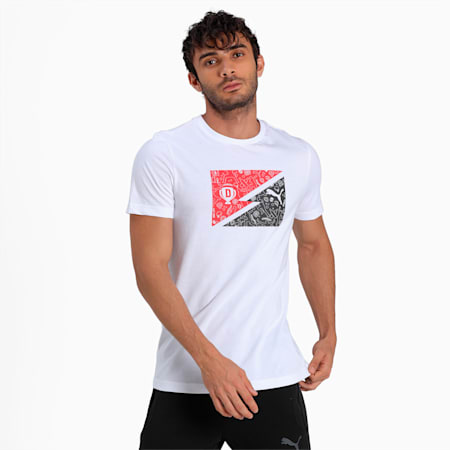 PUMA x Dream11 Cotton Roundneck Men's Bolt  Slim-fit T-shirt, Puma White, small-IND