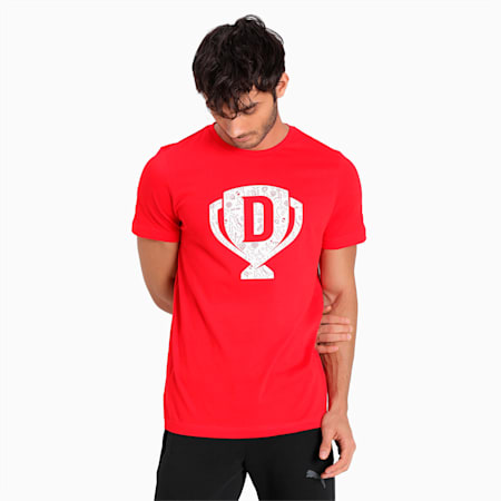 PUMA x Dream11 Cotton Roundneck  Men's Cup Graphic  Slim-fit T-shirt, High Risk Red, small-IND