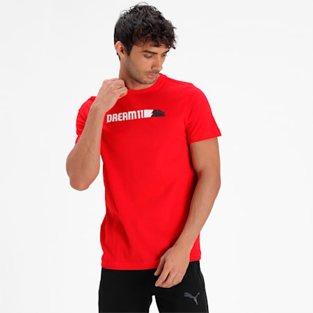 PUMA x Dream11 Cotton Roundneck  Men's Logo Graphic  Slim-fit T-shirt II, High Risk Red, small-IND