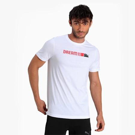 PUMA x Dream11 Cotton Roundneck  Men's Logo Graphic  Slim-fit T-shirt II, Puma White, small-IND