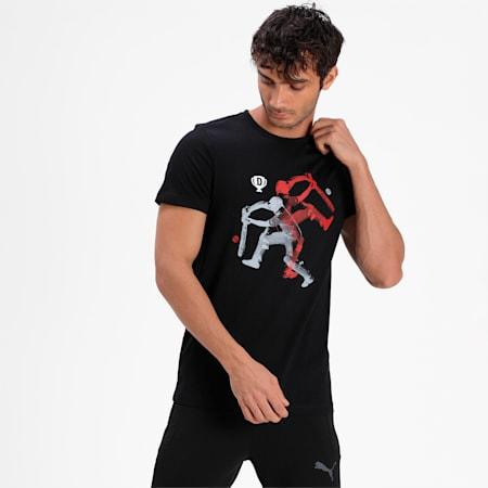 PUMA x Dream11 Cotton Roundneck  Men's Batting Graphic  Slim-fit T-shirt, Puma Black, small-IND