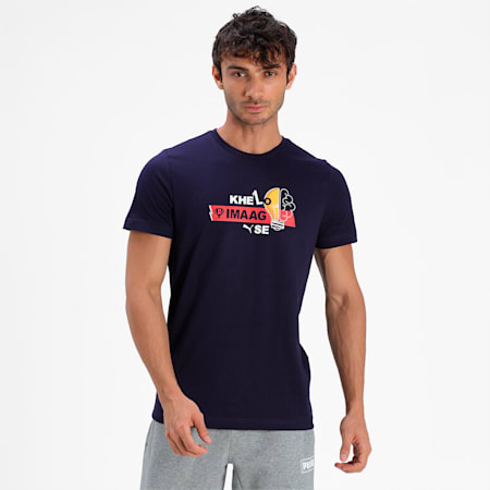PUMA x Dream11 Cotton Roundneck  Men's  Graphic Slim-fit  Slim-fit T-shirt, Peacoat, small-IND