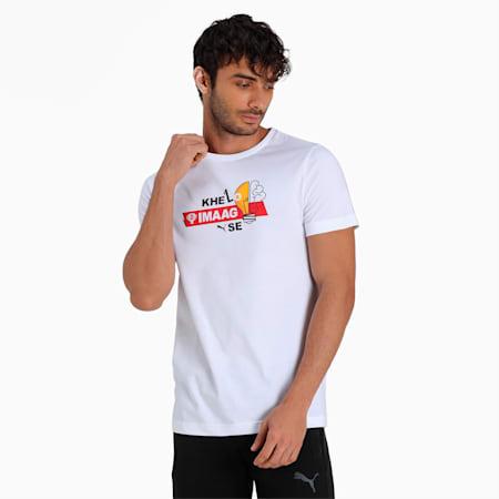 PUMA x Dream11 Cotton Roundneck  Men's  Graphic Slim-fit  Slim-fit T-shirt, Puma White, small-IND