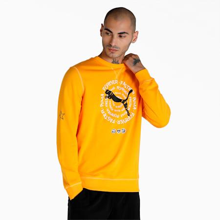 PUMA x 1DER Crew Men's Sweat Shirt, Saffron, small-IND