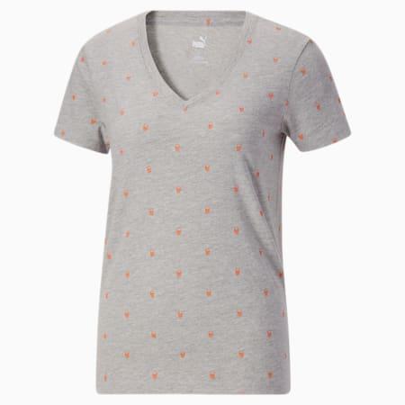Camiseta con cuello en V Halloween para mujer, Light Gray Heather-AOP, pequeño
