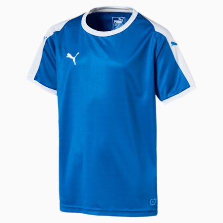 Liga Junior Football Jersey, Electric Blue Lemonade-White, small-GBR