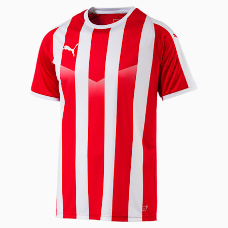 LIGA Men's Striped Football Jersey, Puma Red-Puma White, small-GBR
