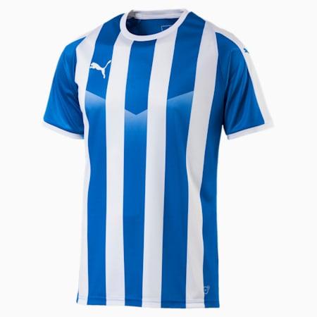 LIGA Men's Striped Football Jersey, Electric Blue Lemonade-White, small
