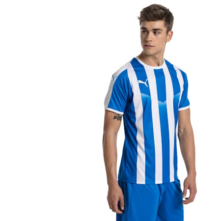 LIGA Men's Striped Football Jersey, Electric Blue Lemonade-White, small