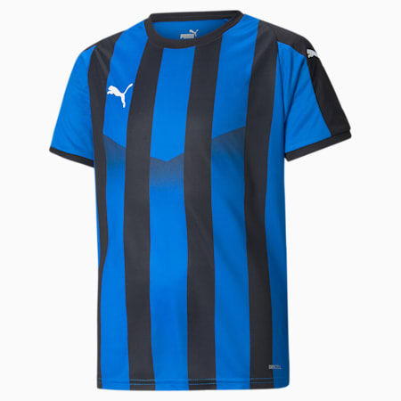 LIGA Striped Kids' Jersey, Electric Blue Lemonade-Black, small
