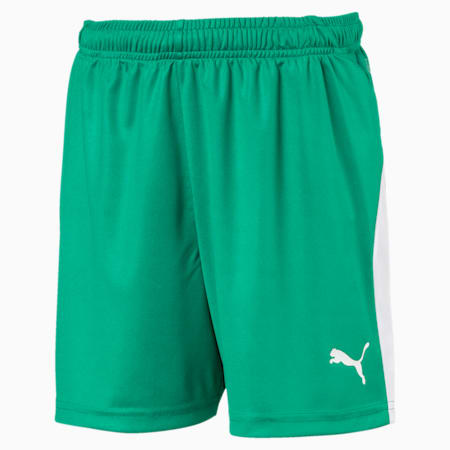 LIGA Kids' Football Shorts, Pepper Green-Puma White, small