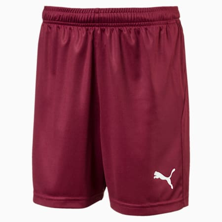 Shorts de fútbol para joven Liga Core, Cordovan-Puma White, small