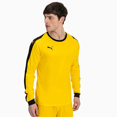 LIGA Long Sleeve Men's Football Goalkeeper Jersey, Cyber Yellow-Puma Black, small