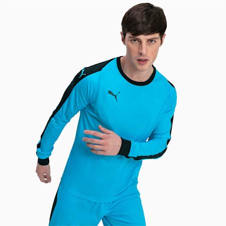 LIGA Long Sleeve Men's Football Goalkeeper Jersey, AQUARIUS-Puma Black, small